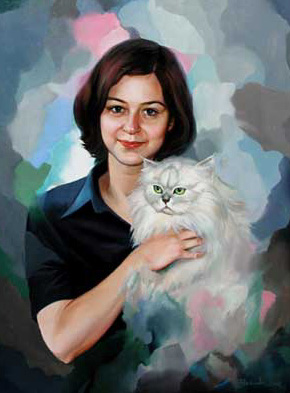 "Oil on canvas. "" Girl with Cat""60x80 cm"